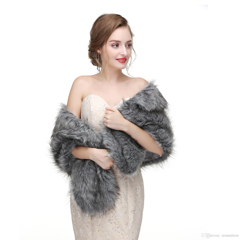 2017 신부는 결혼식 저녁 파티를 위해 볼레로 가짜 모피를 감쌌다 재킷 코트 겨울 흰 모피 목도리 결혼식