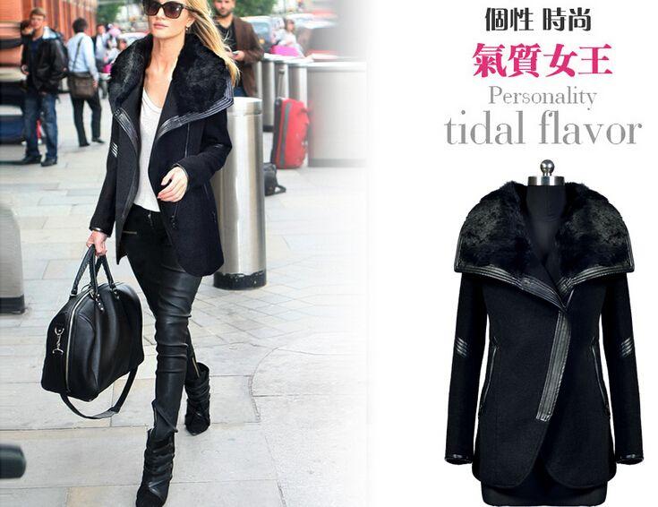 Europe Station Autumn Winter Coats for Women 2015 New Fashion Slim Patchwork Wool Blend Coats Womens Lapel Neck rabbit Wool Black Coat