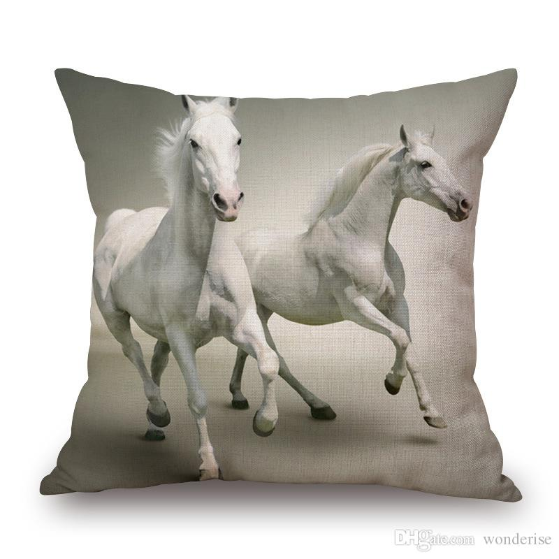 17 Styles Running Horse Cushion Covers American Wild Animal Horses Art Cushion Cover Decorative Linen Pillow Case For Sofa Seat Chair