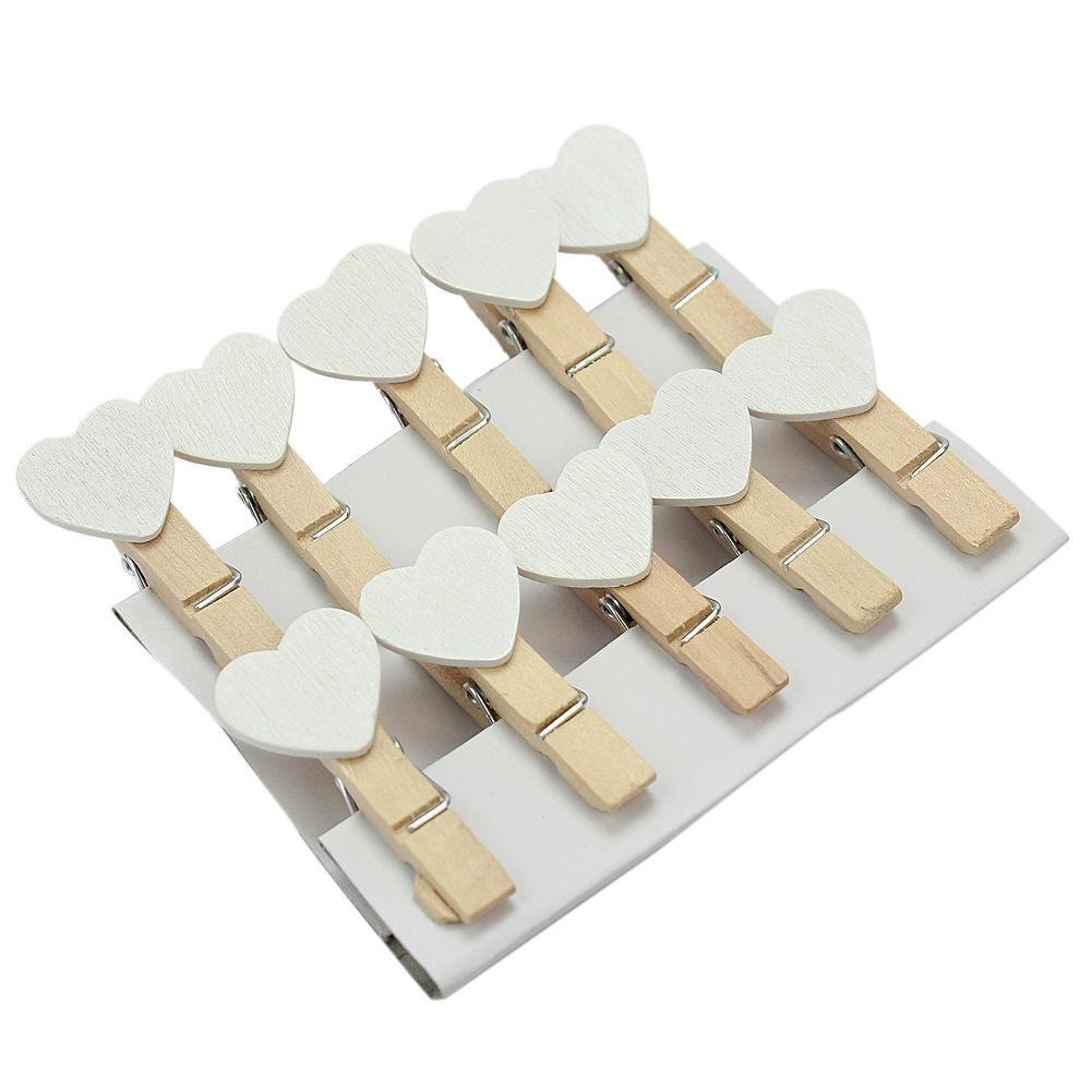 Cute Wooden Mini white Heart Shape Clip Photo paper postcard Clips pegs Wedding Party Decoration