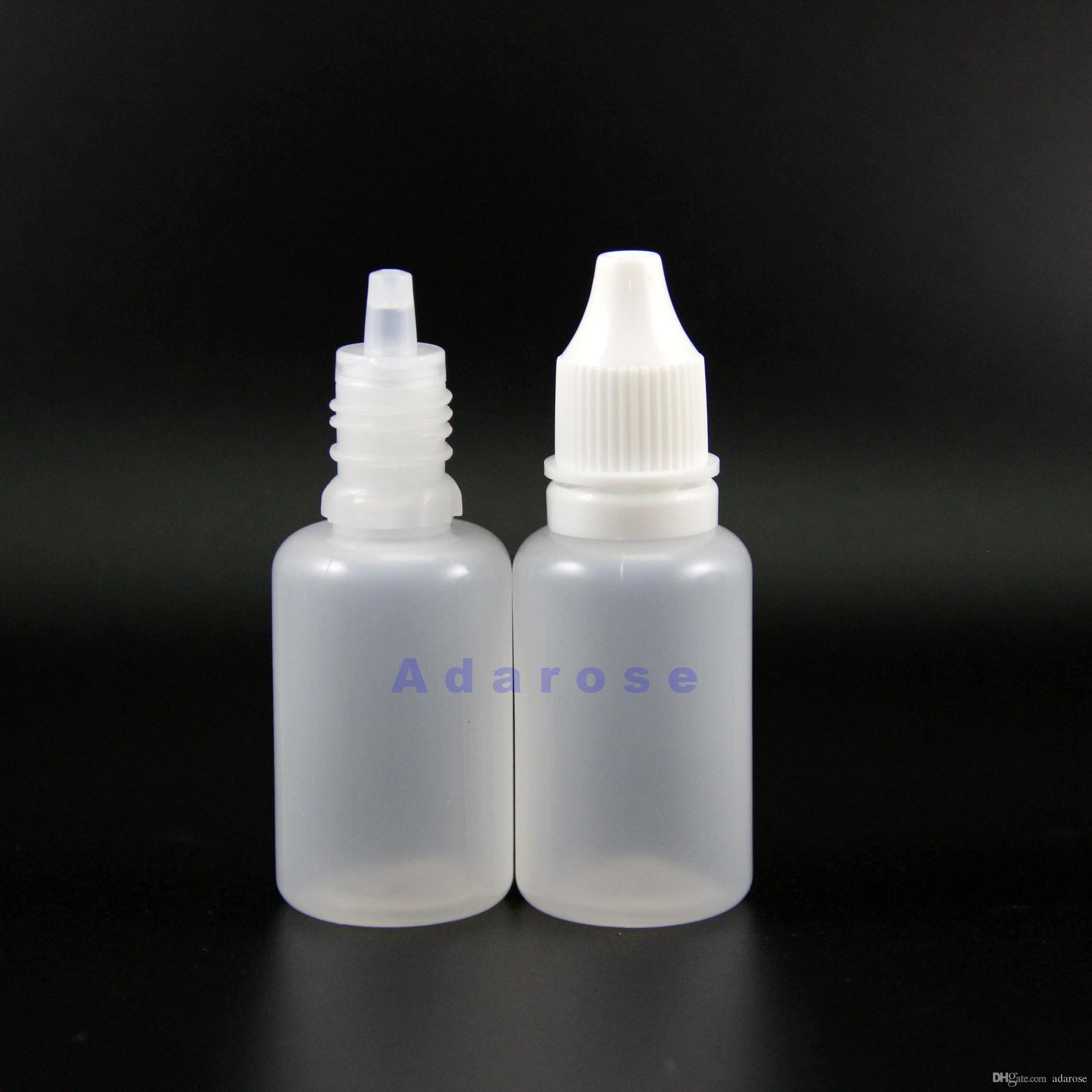 100 Pcs 20 ML High Quality LDPE Plastic Dropper Bottles Tamper Proof Thief Safe Caps & Tips Vapor Vape with thick nipple