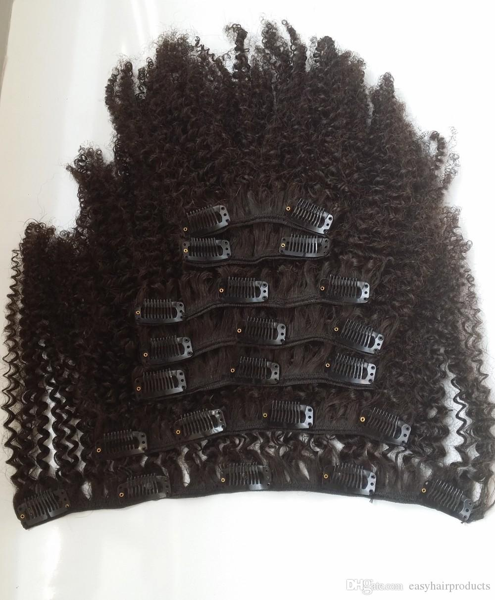 African American afro Kinky Curly Clip in Human Hair extension G-EASY peruvian remy Hair natural 1b Clip in extension for black women