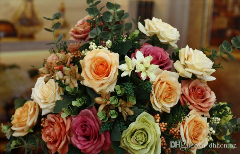 Avrupacılık yapay Tuval renk gül çiçek Dekoratif Çiçekler altı büyük çiçekler ile 49 cm uzunluğu kaliteli ipek el yapımı çiçek