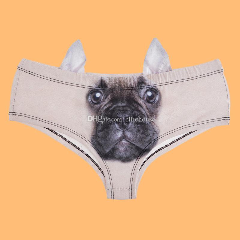 9da30a1d5402 2019 Elliehouse 2017 Fashion Animal Women Ear Underwear Cute Dog Ear Panties  French Bulldog 3D Printing Sexy Panties Woman Lingerie Underwear From ...