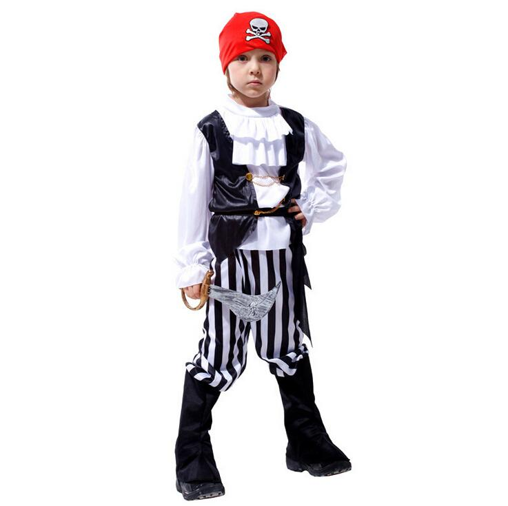Caribbean Pirates Cosplay Costume Classic Halloween Costumes Boys Pirate Costume Jack Sparrow Carnival Costume For Kids