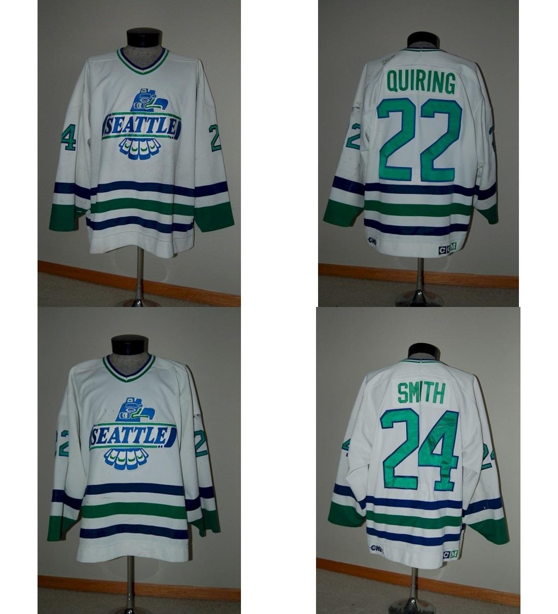 Customize Mens Womens Kids WHL Seattle Thunderbirds 22 Tyler Quiring 24  Darcy Smith Home Ice Ice Hockey Jerseys S-6XL Goalit Cut White 24 Darcy  Smith ... 044365af2