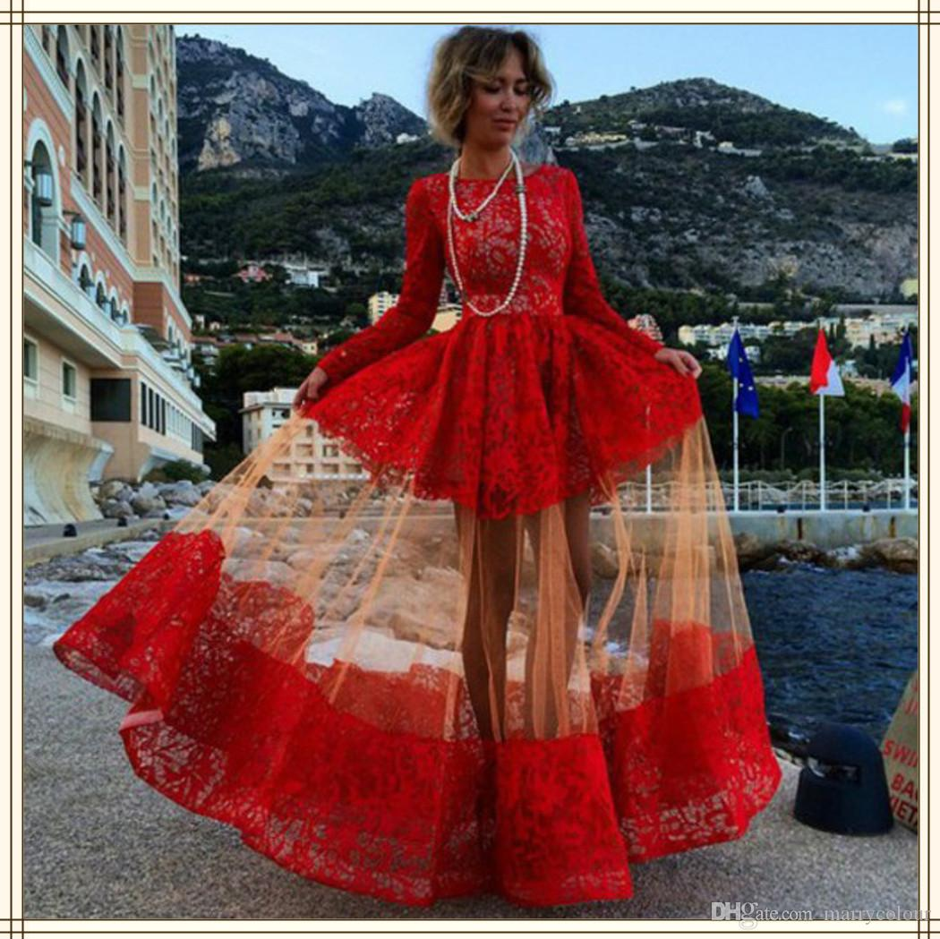 Custom Made Sexy Red Lace Prom Dresses 2015 Long Sleeve Floor ...