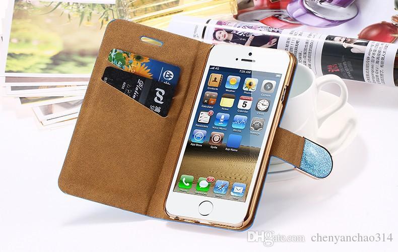 Etui portefeuille de mode en cuir PU de luxe pour Apple iPhone 5 5S SE 6 6S Plus i7 Plus Crystal Diamond Flip Couverture de couverture arrière