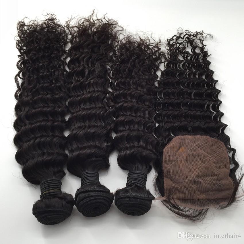 Chiusura base di seta capelli bagnati ed ondulati malesi con fasci Capelli umani non trattati 8a tesse capelli vergini onda profonda con chiusure superiori di seta