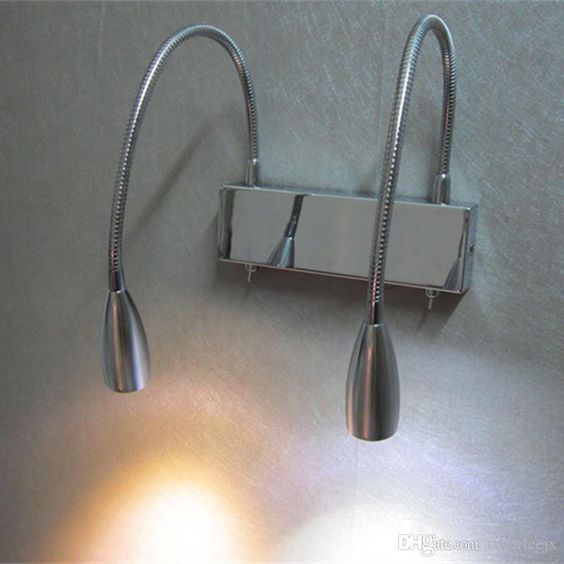 TOPOCH Muurlamp Licht Dual Swing Arm 2x3Watt LED's die onafhankelijk werken door dubbele schakelaars Verlichting Hoeken Verstelbare smalle balk AC100-240V