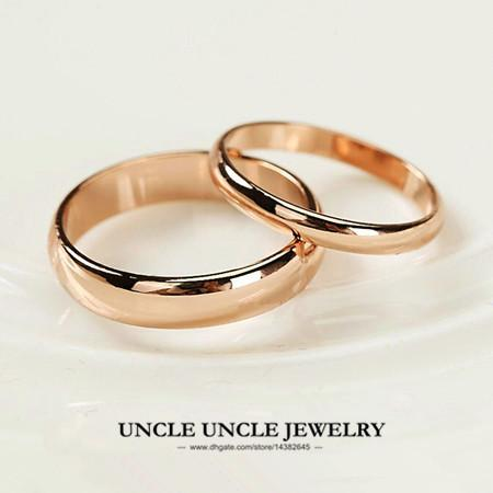 Uni Ring Rose Gold Plated Width 5mm 2mm Classic Simple Glossy