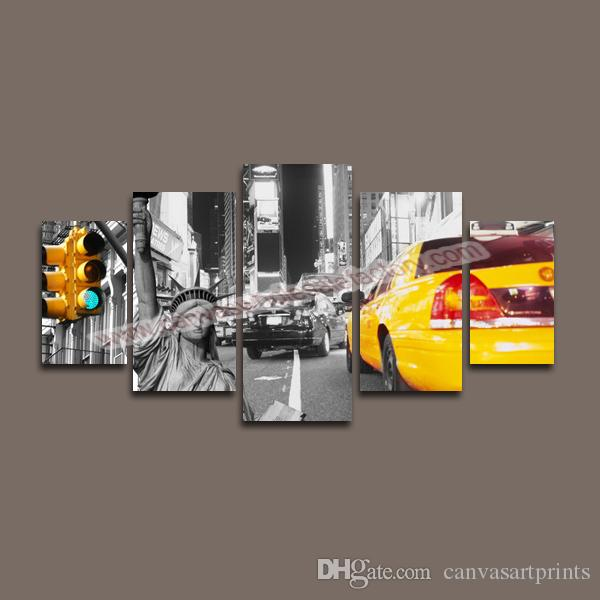 New York City Canvas Wall Art 2017 home decor canvas 5 panel canvas art of new york city wall