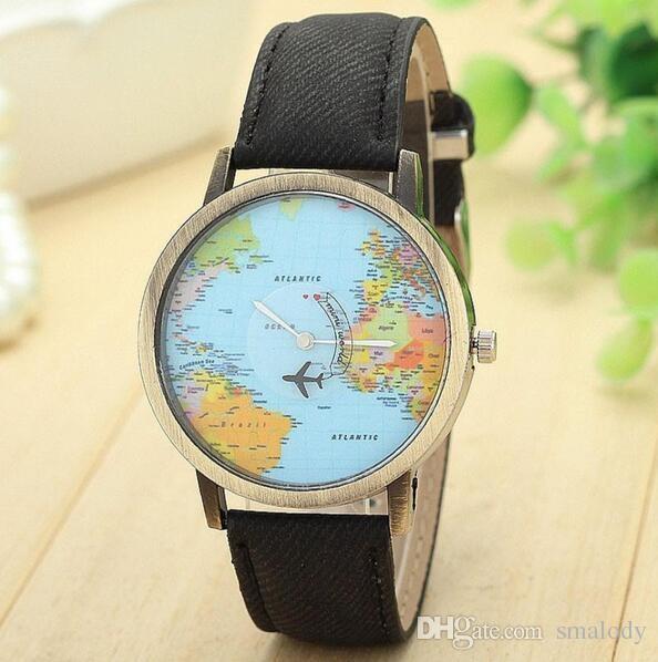 Fashion Global Travel By Plane Map Джинсовые Тканевые Часы Новые Простые Случайные Прекрасные Кварцевые Наручные Часы