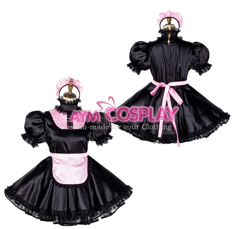 New Arrival Custom Made Lockable Satin Sissy Maid Dress Lolita Princess Costumes  Outfit Fancy Cosplay Costume Team Costumes For Halloween W Themed Costumes  ... - New Arrival Custom Made Lockable Satin Sissy Maid Dress Lolita