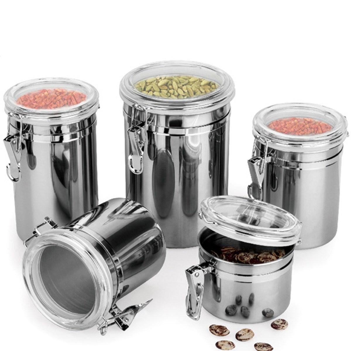 Stainless steel storage containers for kitchen - 2017 Wholesale Silver Round Storage Food Bottles Sugar Tea Coffee Beans Canisters Kitchen Container Cooking Tools From Lailaihangdao 21 99 Dhgate Com