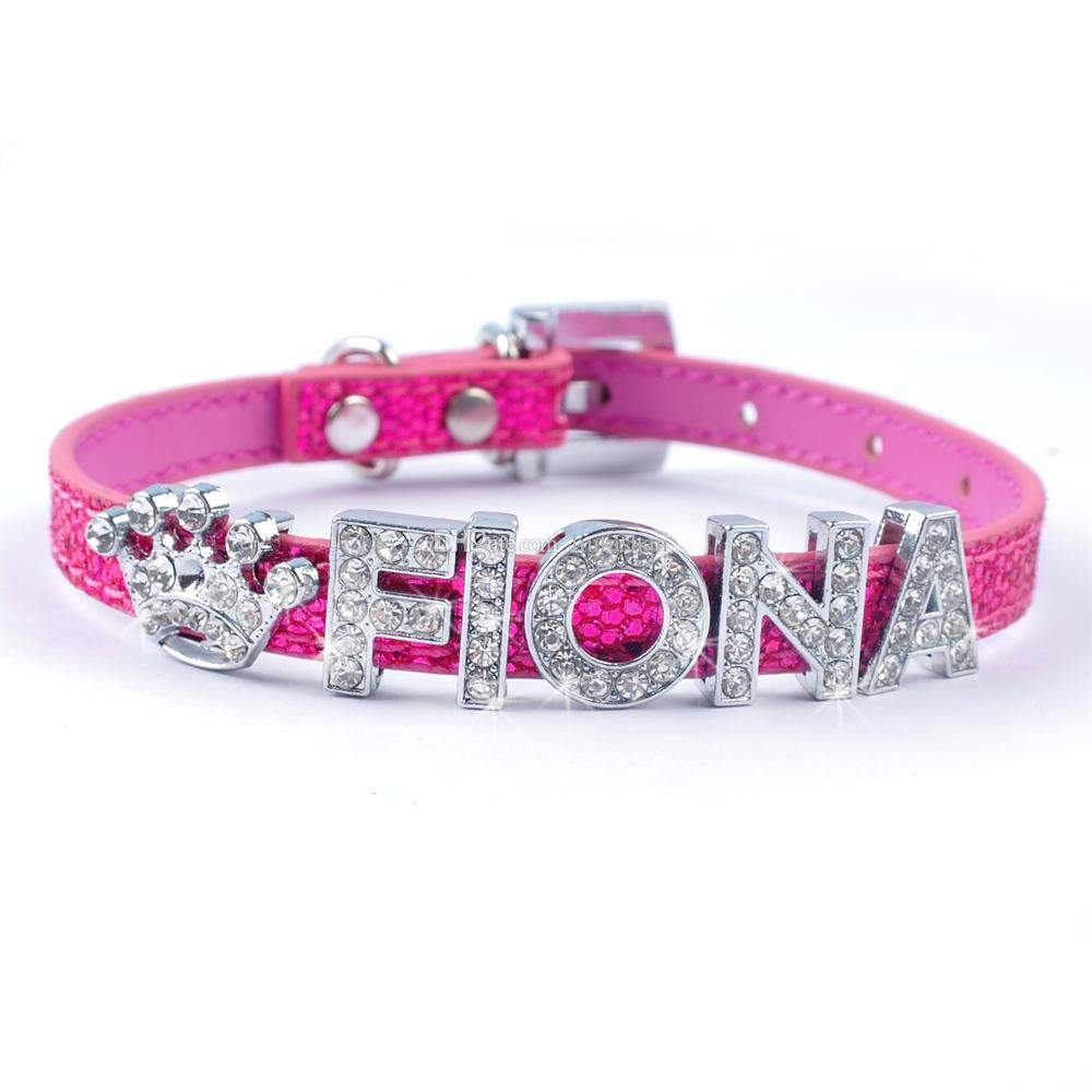 Personalized customized Puppy cat collar Bling Bling Leather Dog Collars for 10mm letters Diomante Buckle