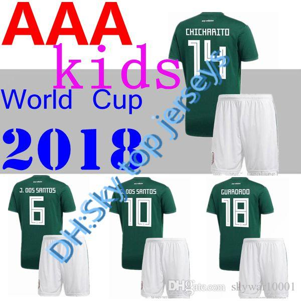 Mexico BOYS 17 18 Football Jersey Kid Kit Home Green 2017 CHICHARITO G.DOS  SANTOS R.MARQUEZ Mexico Soccer Jersey Child Kit UK 2019 From Skywar10001 0849b6d44