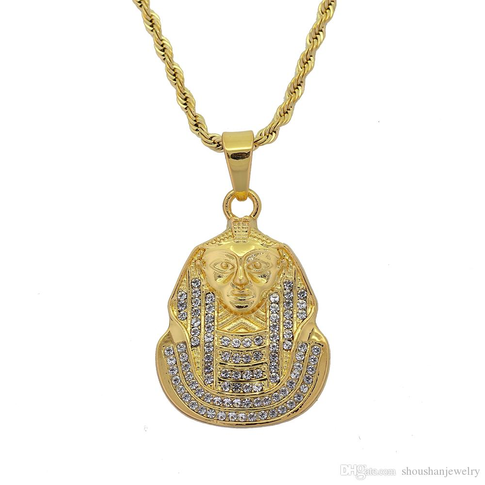 3mm 24inch Stainless Steel Rope Chain Hip Hop Egyptian Pharaoh Pendant Necklace Men Women Jewelry N701
