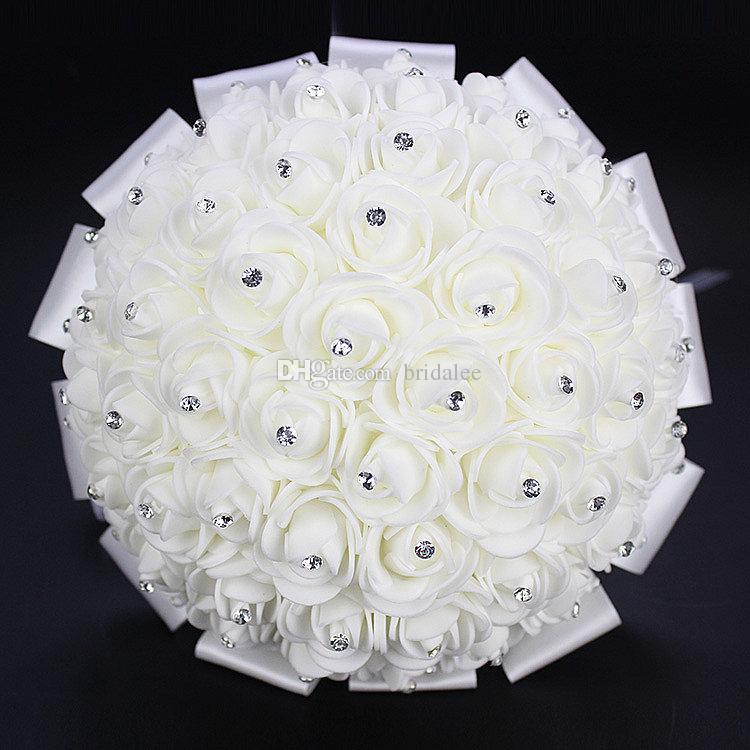 Cristal De Luxe Blanc Bouquets De Mariage 2016 Nouveautés Ivoire Rose Bow Buque De Noiva De Perola Mariage Fleurs Bouquet De Mariée