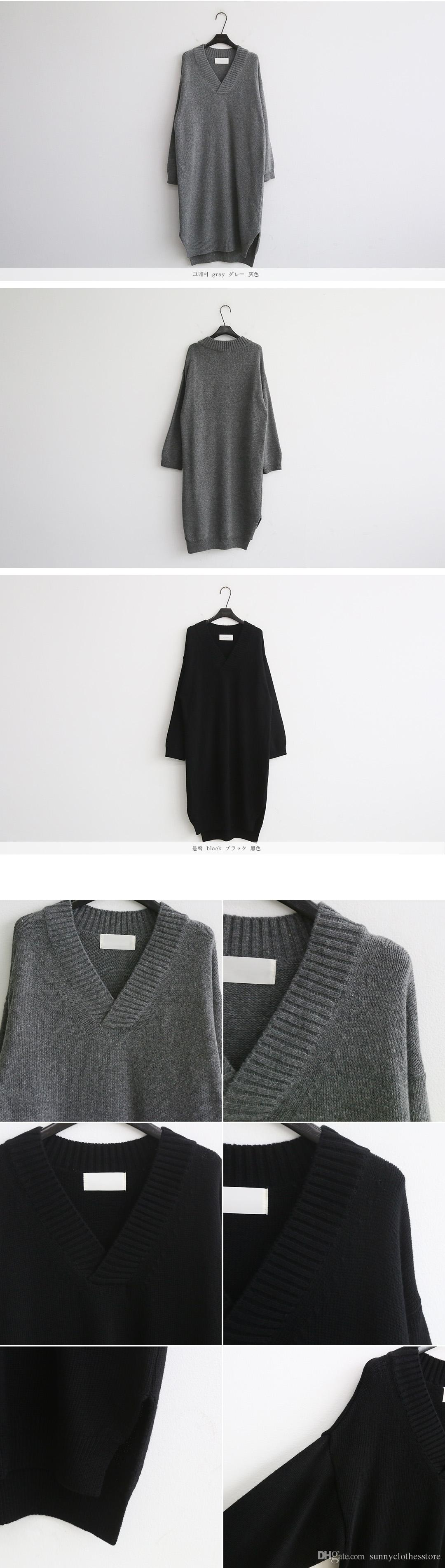 Autumn and winter new Korean version of the Joker sweater skirt V-neck thickened long-sleeved loose sweater women