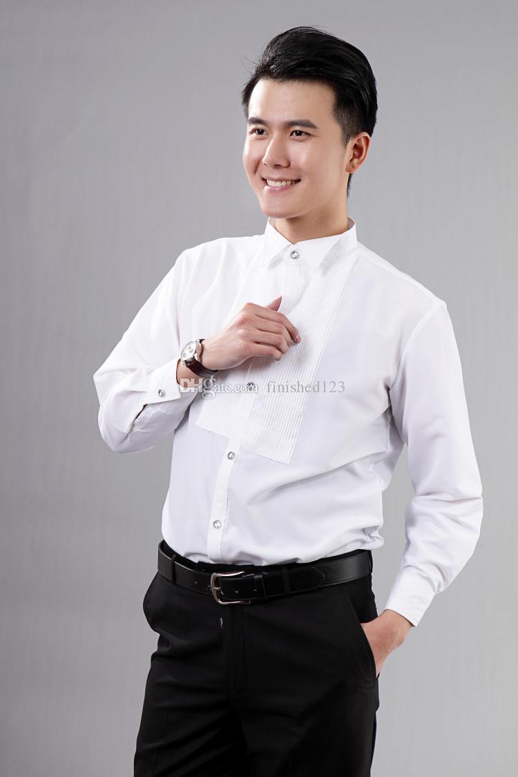 새로운 스타일 최고 품질의 화이트 남자의 결혼식 의류 신랑 착용 셔츠 남자 셔츠 의류 확인 : 02