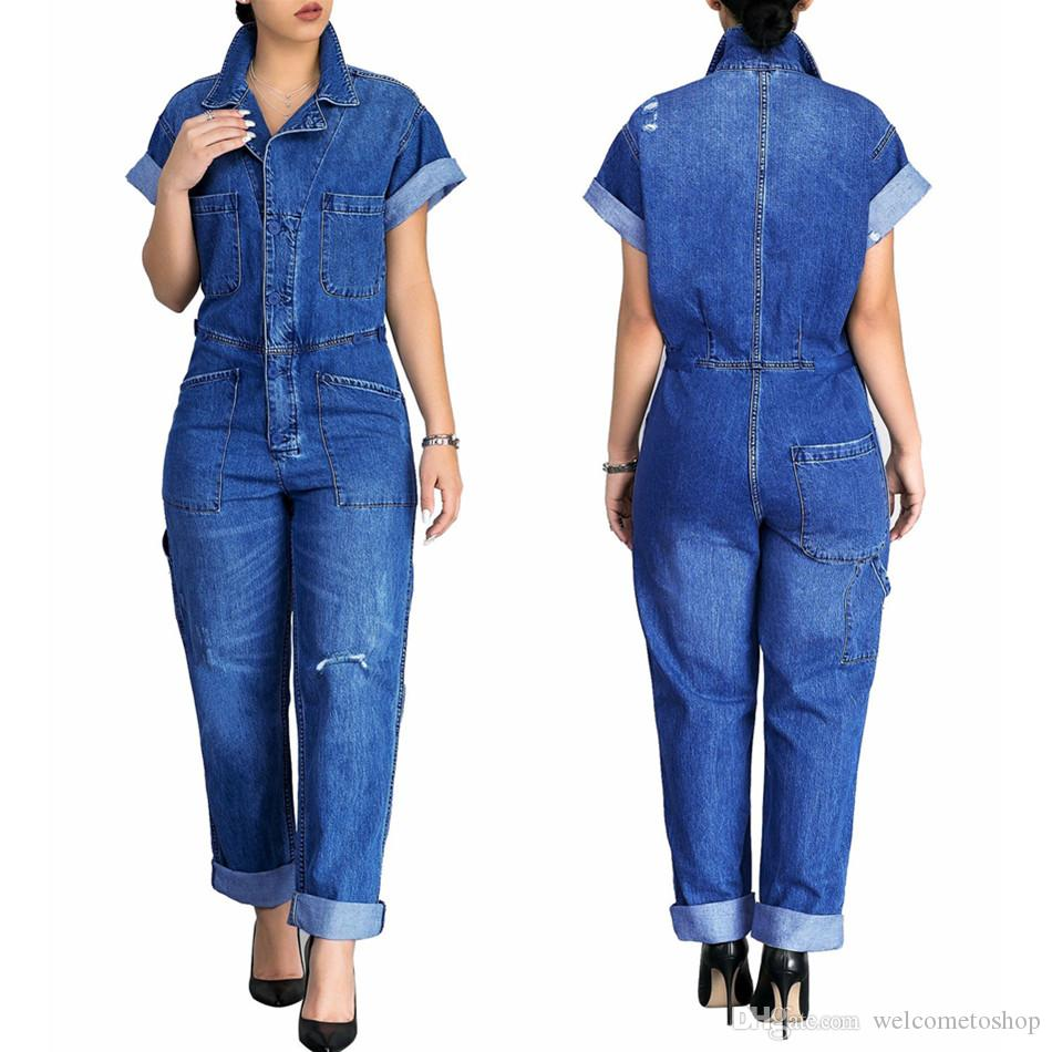 4ad69ed3b2ab Fashion Skinny Denim Rompers Womens Jumpsuits Plus Size Hole Short ...