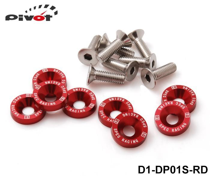 Pivot - D1 Spec 8 Pcs M6 x 20 Headlights Bumpers Fender Washers Kit Bolt Screw Engine Red Color Fit For HONDA D1-DP01S-RD