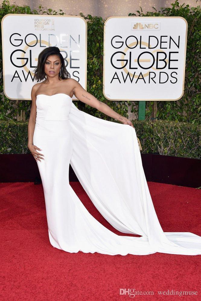 2021 Golden Globe Awards Simply Goedkope Jurk Strapless Mouwloos met Lange Trein White Celebrity Red Carpet Formele Jurken Avondslijtage