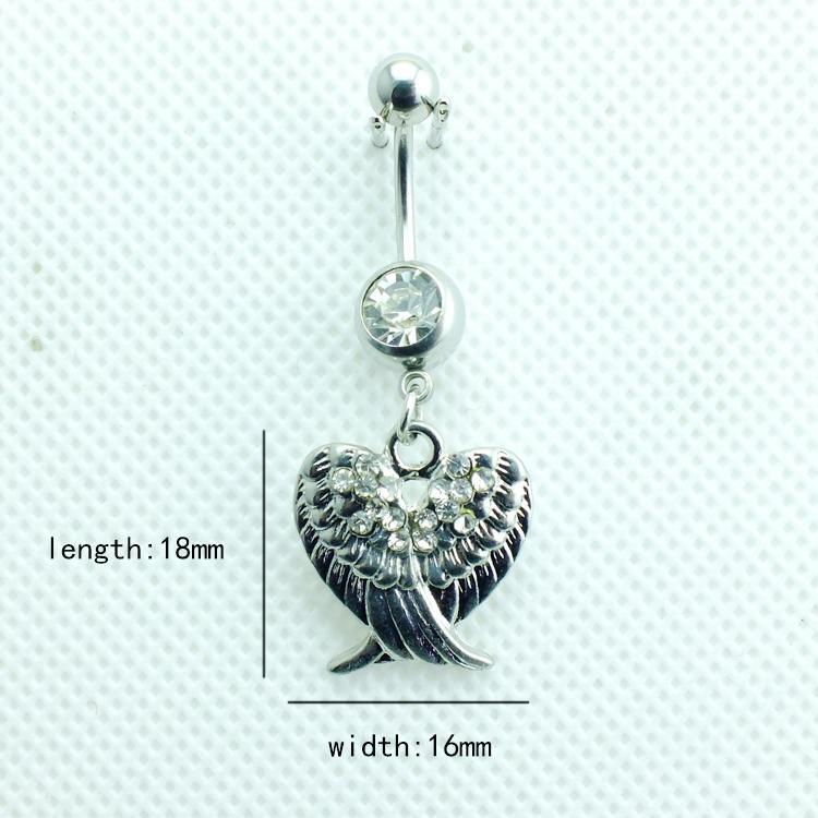 Piercing biżuteria moda pępki pierścionki ze stali nierdzewnej barbell Dangle podwójne rhinestone skrzydła belly przyciski pierścionki biżuteria ciała