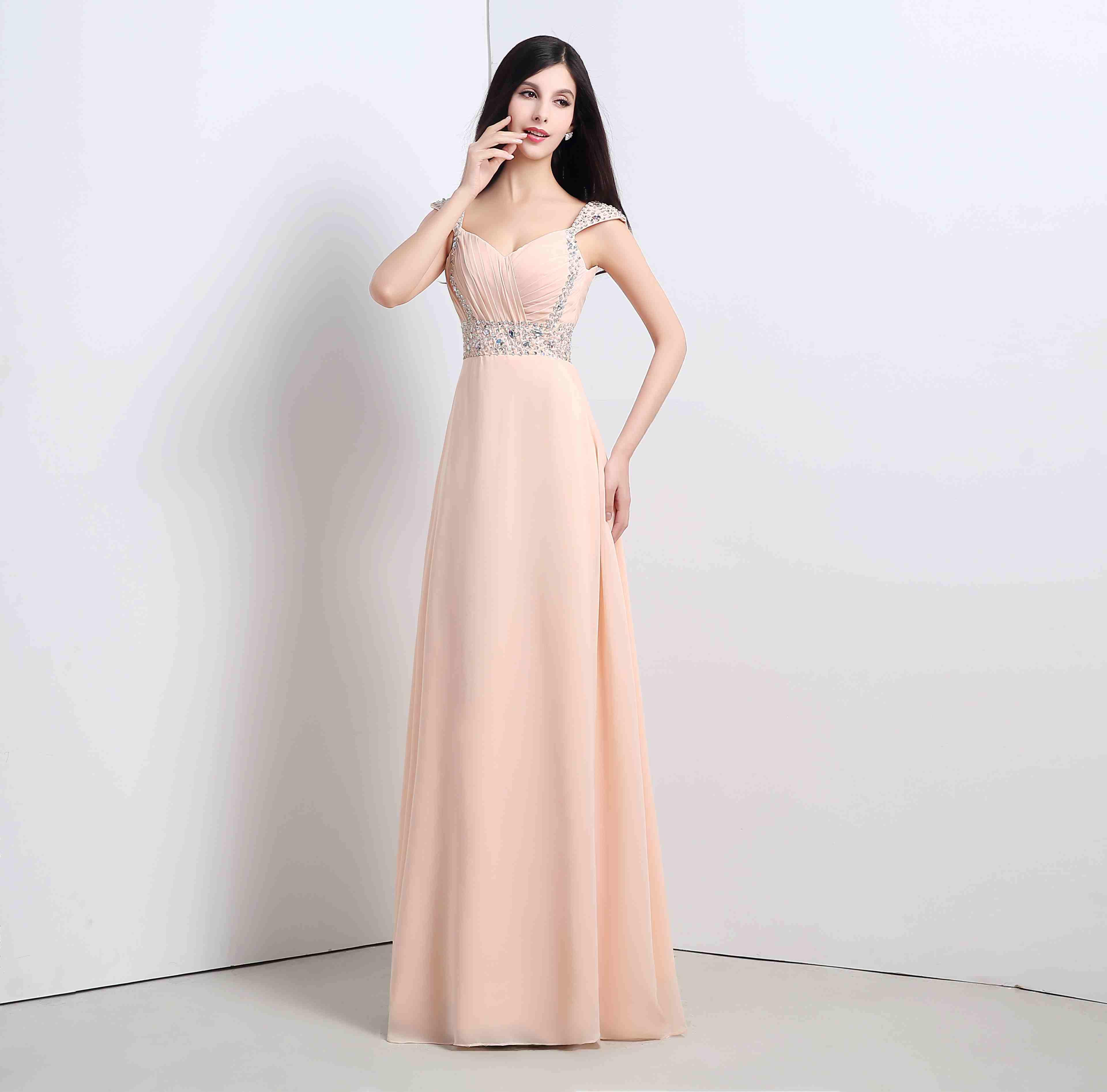 Champagne pink chiffon floor length 2015 a line bridesmaid dresses champagne pink chiffon floor length 2015 a line bridesmaid dresses off shoulder crystal sequins waistband lace up back formal prom dress lz bridesmaid ombrellifo Choice Image