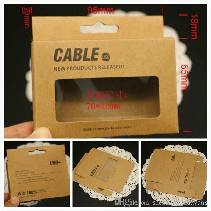 95*75*15mm Universal USB Charger Cord Craft Kraft Paper Packaging Box Retail Package for Samsung S4 Note 3 iPhone 6 5 Sync Data Cable 1M 3Ft