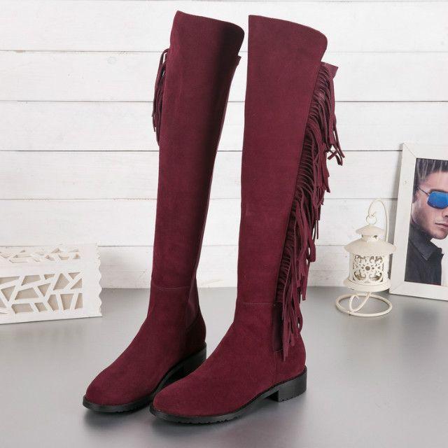 caldo! U463 34/40 Genuine Pelle Thish Thise Tassel Black Boots Black Brown Tan Maroon Grigio sopra le ginocchia