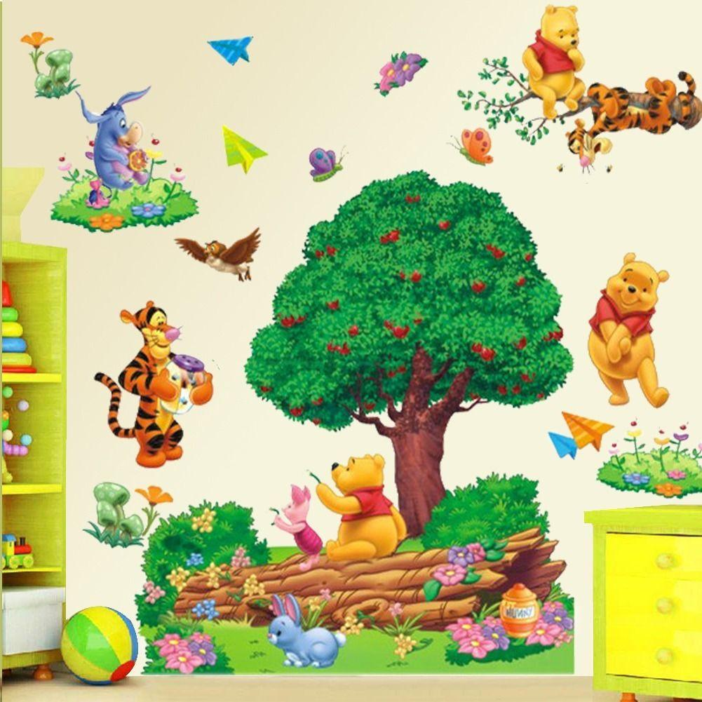 large cartoon winnie the pooh wall sticker art vinyl decals kids nursery home decor pf home. Black Bedroom Furniture Sets. Home Design Ideas