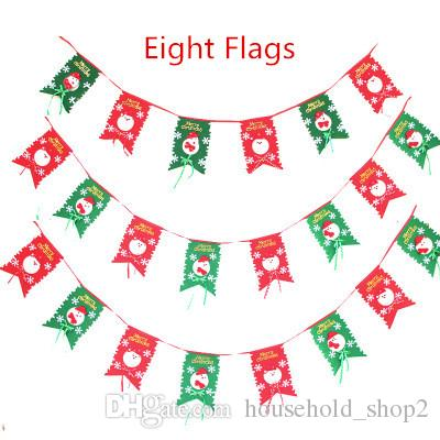 2019 Christmas Flags Ornaments Eight Colorful Flags Christmas Home Shop  Restaurant Decoration New Year Hanging Flag Party Decoration 001 From ... ec342ba0c0dd