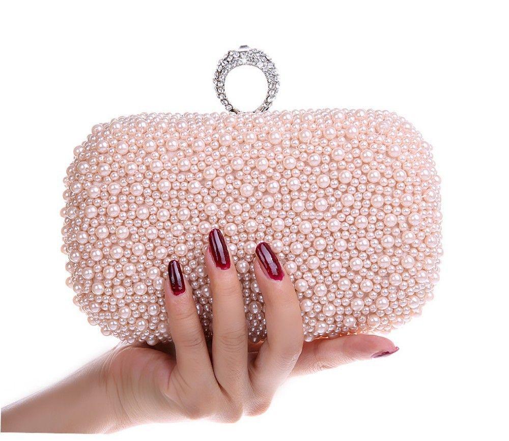 de8b0f7f41 Wholesale Hot Style Women S Beaded Handbag  Bridal Duplex Full Pearl  Diamond Ring Clutch Purse  Chain Evening Bag Shoulder Messenger Bag  Wholesale Bags ...
