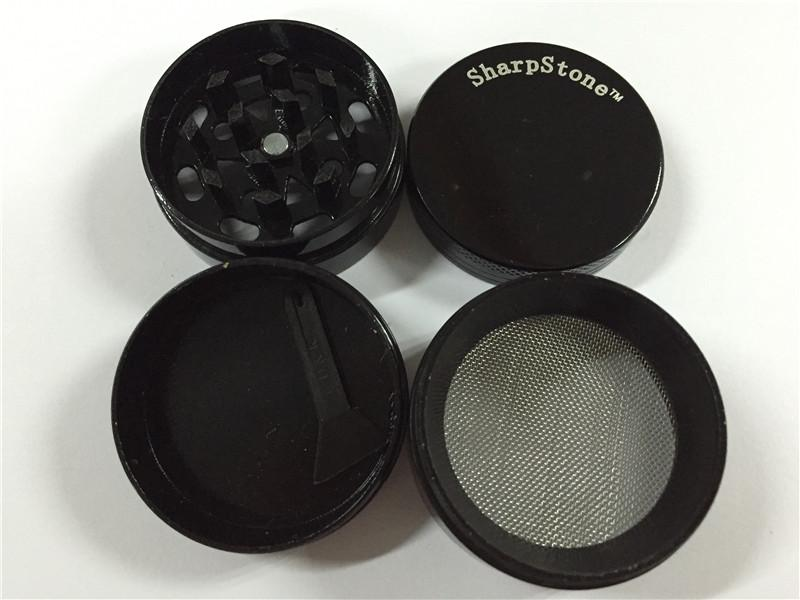 Großhandel Sharpstone Herb Grinder Rauchen scharfe Steinschleifer Größe CNC Grinder Metallcnc Zähne Tabakschleifer 40mm 4 Teile Mix Designs