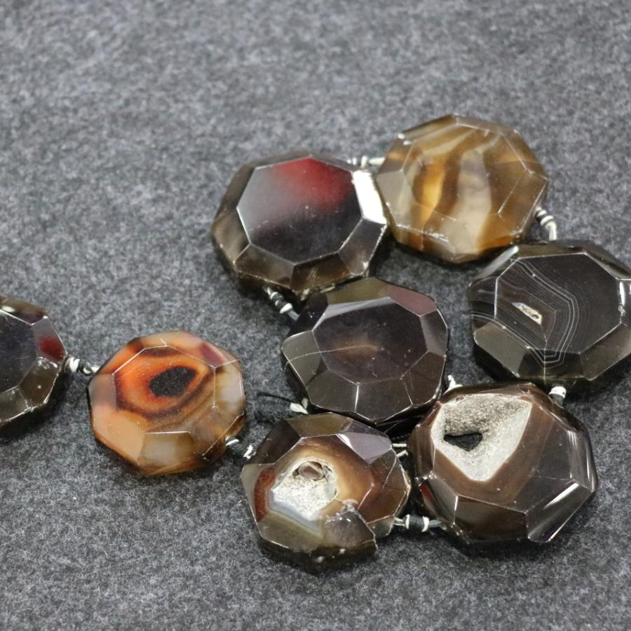 /1Strand Brown Druzy Agate Gemstone Beads, Natural Slice Slab Drusy Druzy Agate Necklace Pendant Connector Jewelry Making Wholesale