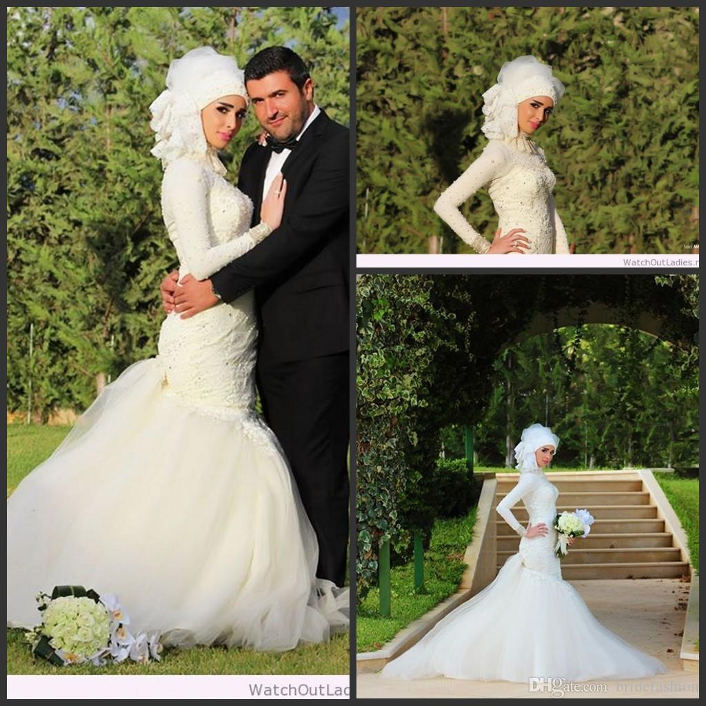 2015 Custom Made Lace Applique High Neck Long Sleeve Mermaid Sweep Train  Gorgeous Muslin Wedding Dresses High Quality Bridal Gowns Chic Wedding  Dresses Of ... e3300f570822