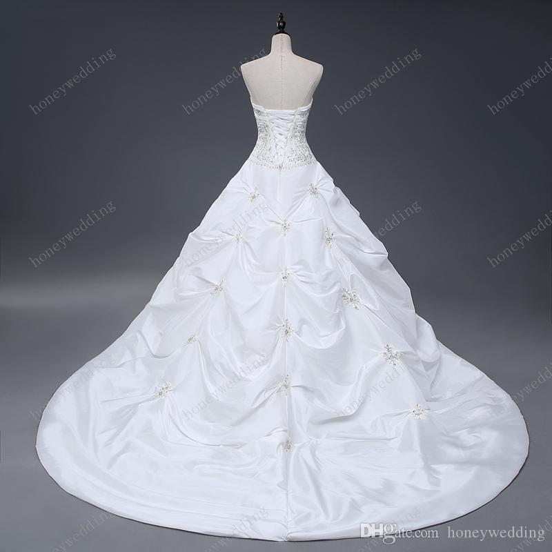 Gorgeous Ball Gown Wedding Dresses Cheap Strapless With Embroidery Ruffles Sequin Lace Up Bridal Gowns Under 100 Real Sample