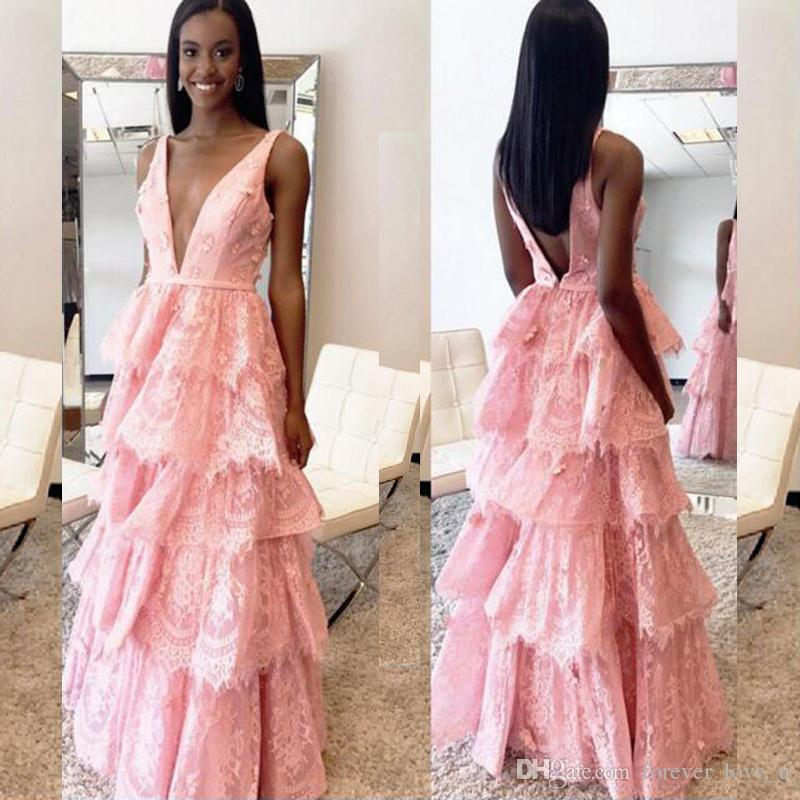 5540457516 Sexy Blush Pink Lace Prom Dress Deep V Neck Sleeveless Backless Tiered Skirt  Prom Dresses Long Formal Evening Gown Floor Length Short Prom Dresses On  Sale ...