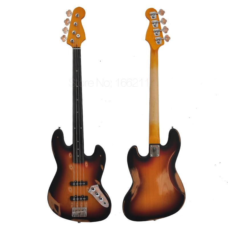 Free shipping factory custom do old 4 strings bass guitar Ebony fingerboard Alnus body Custom Shop Bass Handmade Musical Instruments