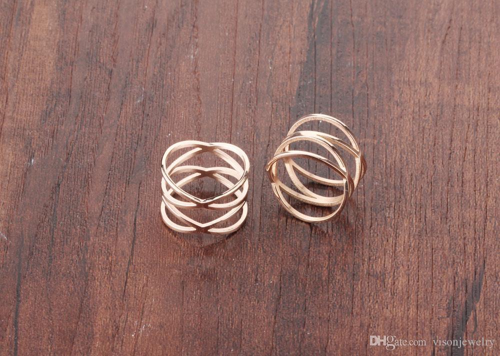 Кольца с двумя крестами из розового золота 14 мм из нержавеющей стали