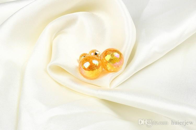 Ohrringe für Frau Mädchen doppelseitige Perlenohrringe Süßigkeiten Farben Kristallbeschichtete doppelte Kugel Zwei Enden Perlenbolzen Ohrringe