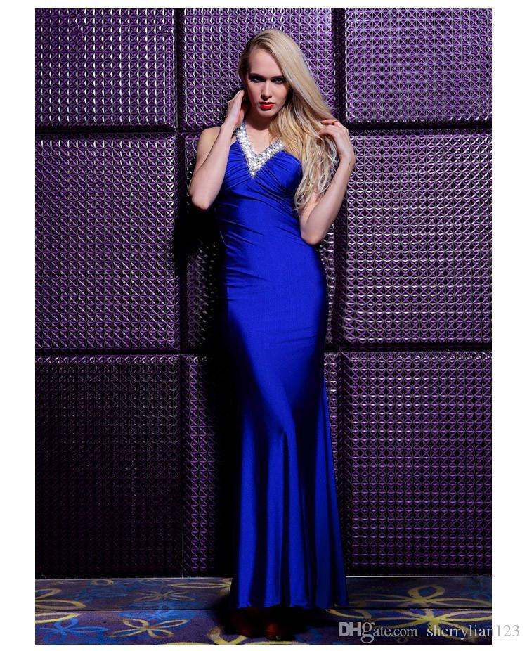 Compre Nuevo Diseño Azul Real Vestido De Fiesta Vestido De Noche ...