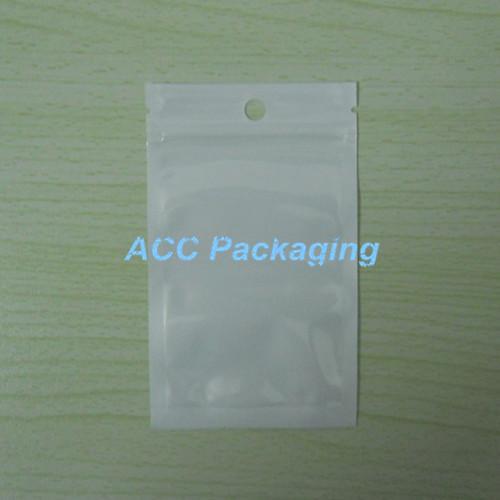 Blanc + sac d'emballage en plastique transparent Self Seal fermeture à glissière Zip Lock Sacs d'emballage Sachets Ziplock Ziploc Package Polybag avec Hang Hole