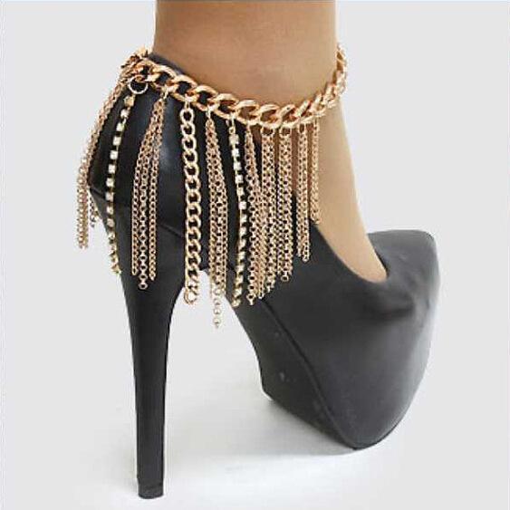 Yeni Moda Püsküller Halhal Ayak Zincirleri Bacak Yüzük Yüksek topuklu ayakkabılar Metal Alaşım diamante Zincirler Köle Halhal Vücut Takı Yüksek topuklu zincirler