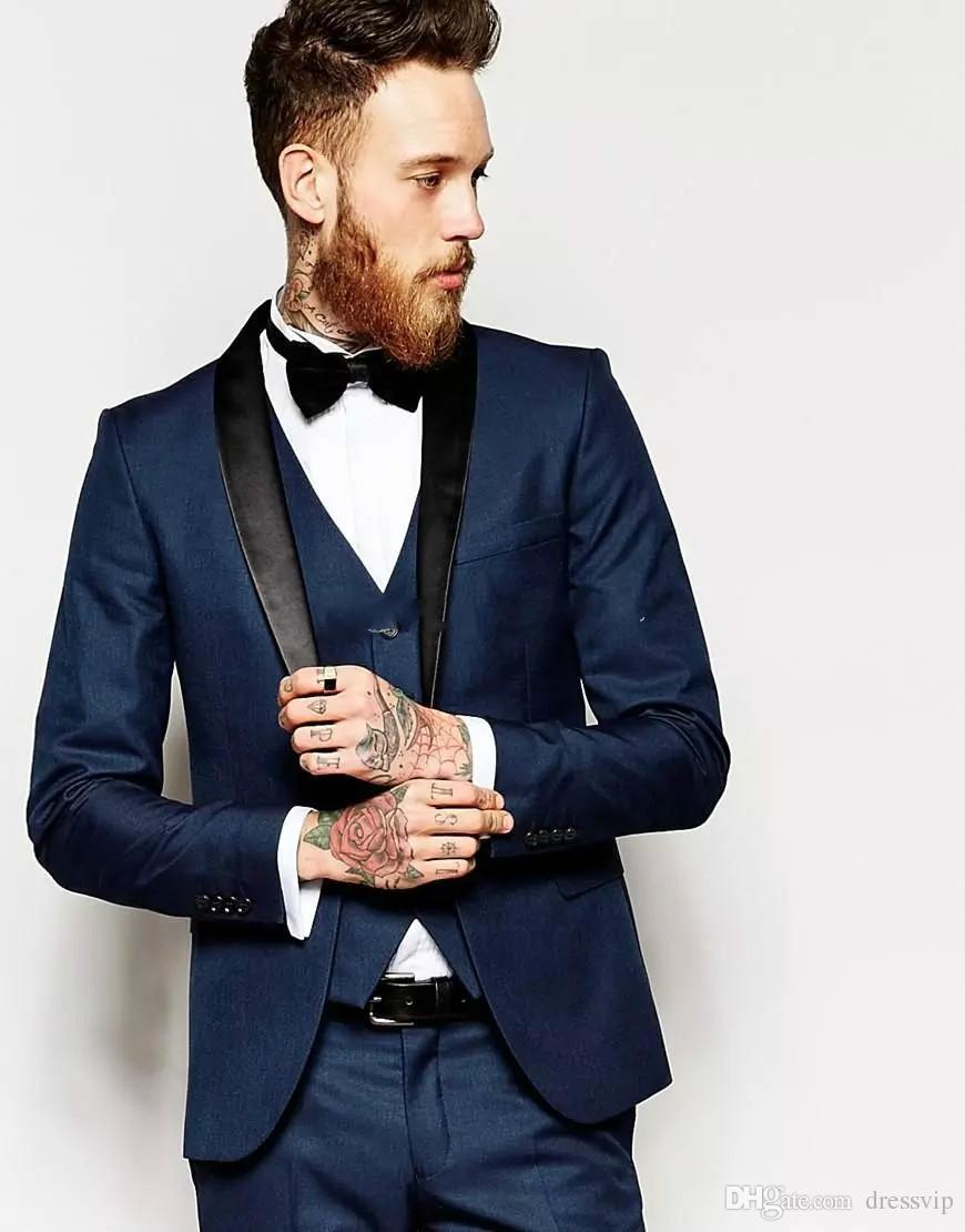 Custom Made One Button Mens Suits Navy Blue Groom Tuxedos Best Man Suit Wedding Suit (Jacket+Pants+Vest+Bow Tie+Kerchief) Handsome Jackets