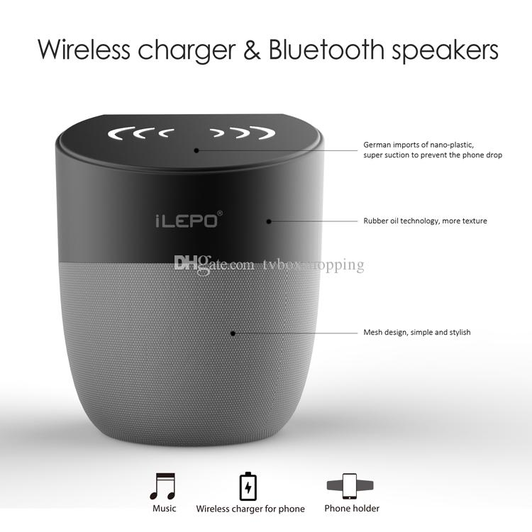 ! iLEPO A1 Wireless Charger Speaker With 1800mAh Battery 5W Output Qi-enabled Fast Charging For Cell Phone Portable Bluetooth Speaker