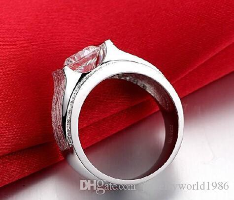 Gratis verzending Fijn groothandel 1CT NSCD synthetische diamanten ringen voor heren 925 Sterling zilveren gestempeld bruiloft man ring