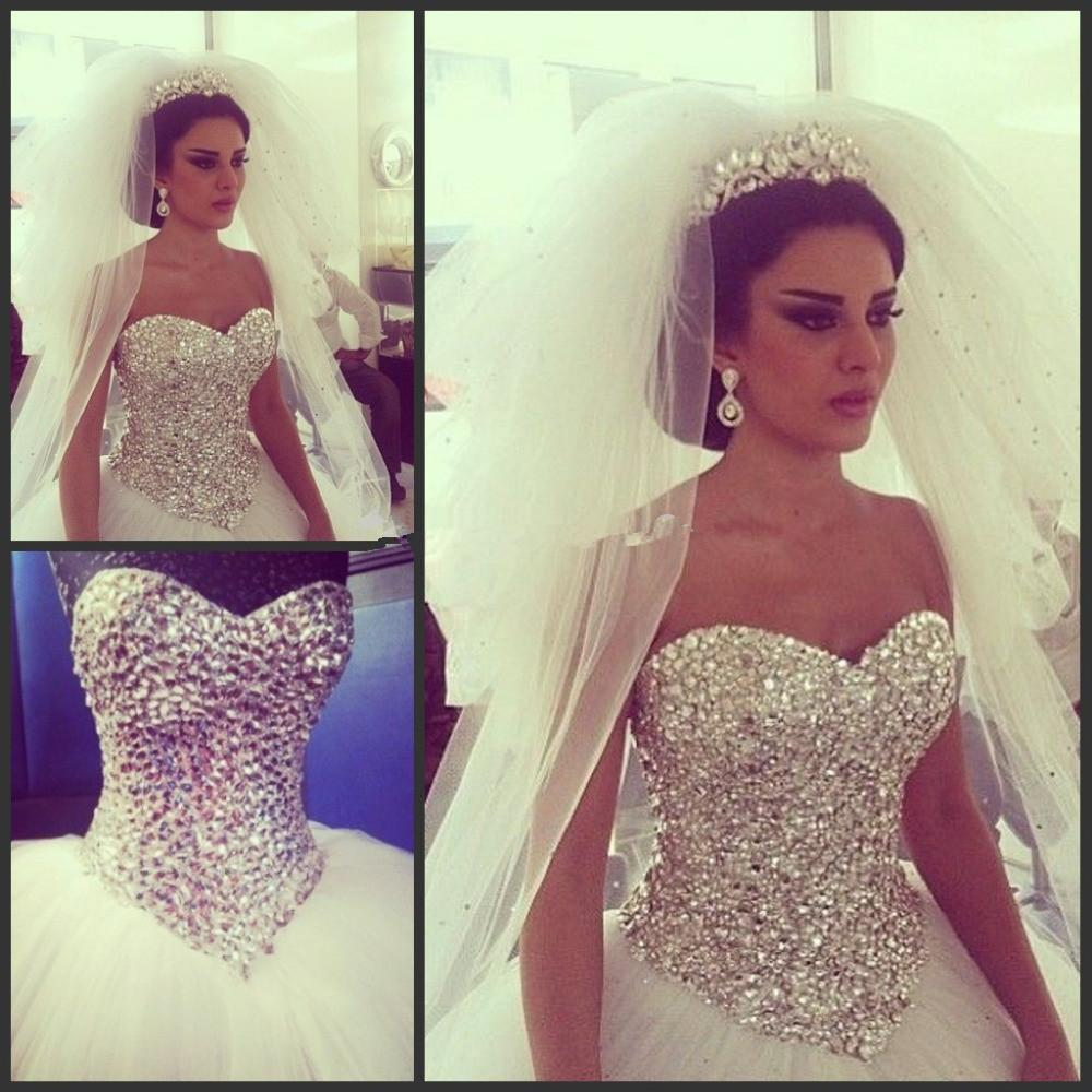 2015 Glamorous Bling Top Bodice Crystals Wedding Bridal Dress Puff Tulle Ball Gown Gowns For Bride With Beaded Lace Up Back Couture